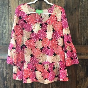 Pappagallo, L, NWT, Pink Floral Blouse